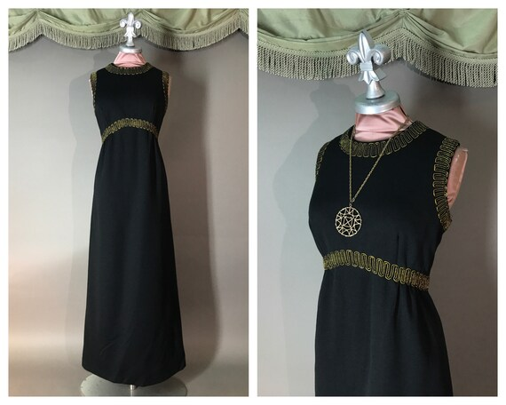 1960s dress vintage 70s BLACK GOLD EMBROIDERY maxi