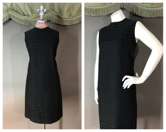 1960s dress 60s vintage BLACK EMBROIDERY COTTON ra