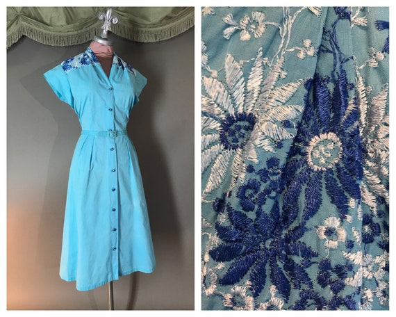 1950s dress vintage 50s BLUE EMBROIDERY COTTON day