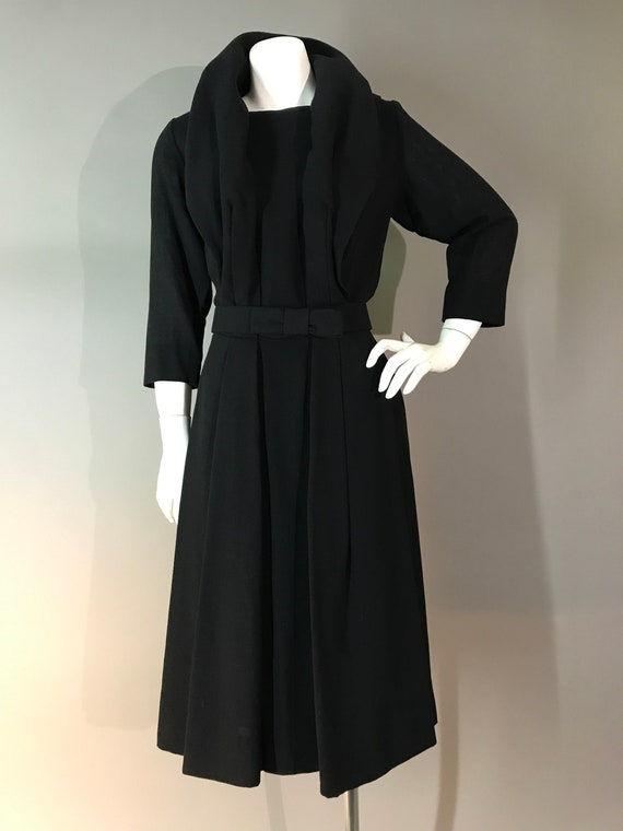 1950s dress 60s vintage TRAVILLA BLACK BOW designe