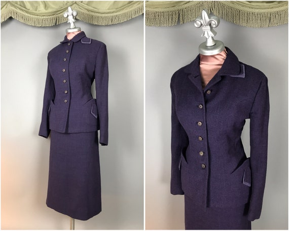 1940s suit vintage 50s PURPLE HOUNDSTOOTH WOOL 2pc