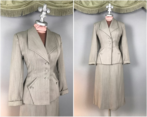 1940s suit vintage 40s GRAY TAUPE BROWN subtle str