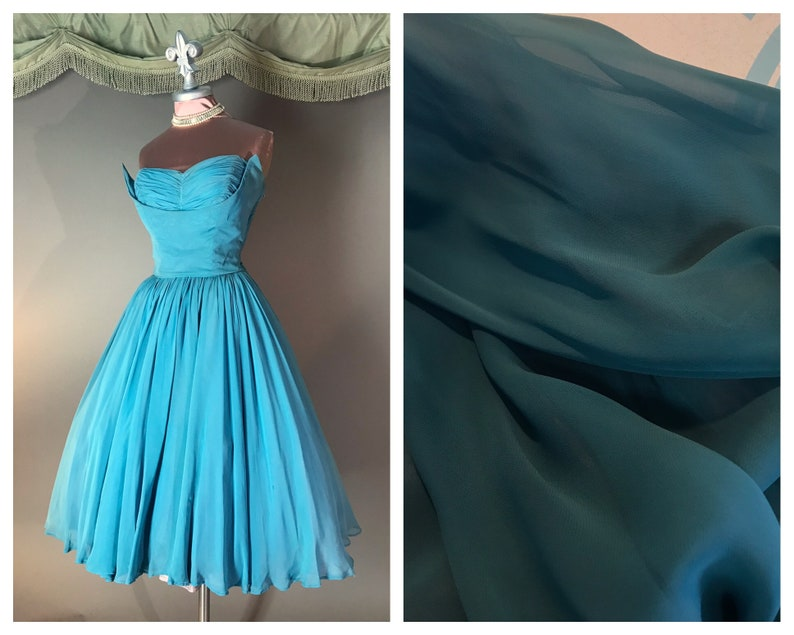 1950s dress vintage 50s TEAL CHIFFON blue turquoise chiffon fin bust cocktail party dress