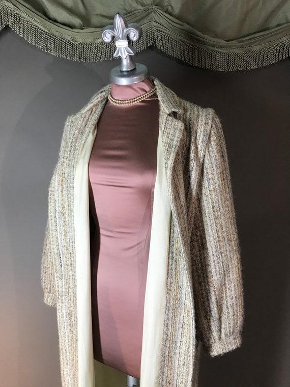 1980s coat vintage 70s BISHOP SLEEVE BELTED neutr… - image 9