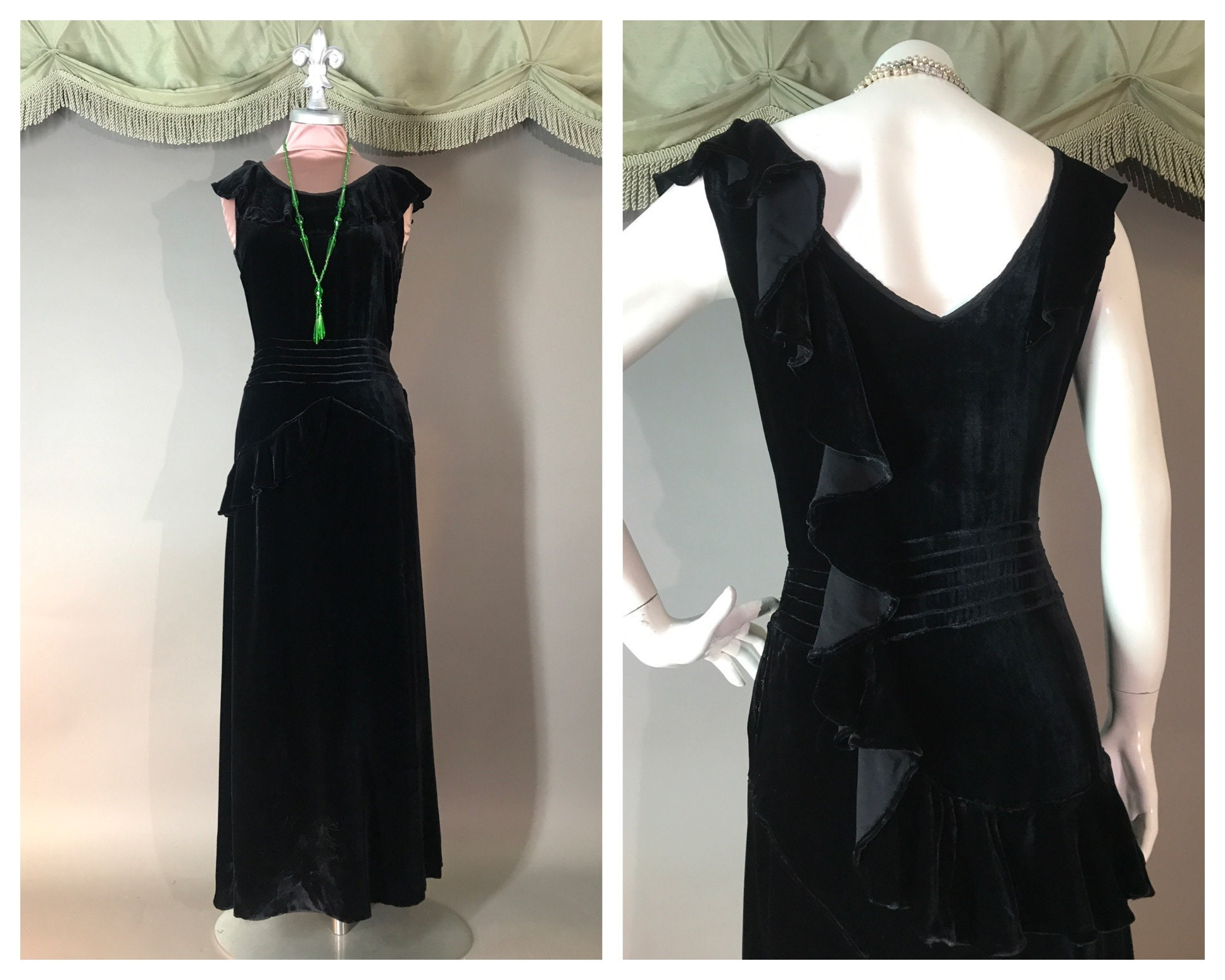 1930s Art Deco Style Jewelry 1930S Dress Vintage 30S Black Velvet Ruffle Curved Cascade Detailed $23.00 AT vintagedancer.com