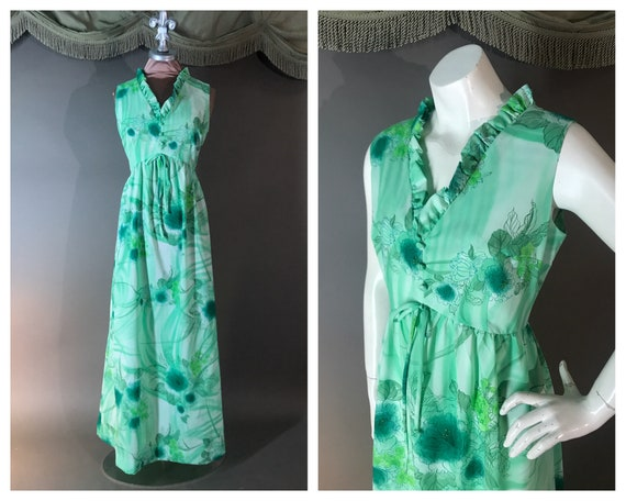 1970s dress vintage 70s GREEN HAWAIIAN WATERCOLOR