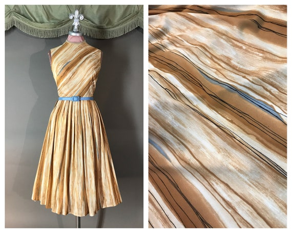 1960s dress vintage early 60 MARBLE ABSTRACT PRINT