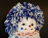 Soft Sculpture Clown, Display Clown (Legless Design) Red, White and Blue Clown, Painted Face