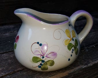 Hand Painted Pitcher, Pastel Flowers, Made in Portugal, Short and Wide