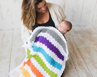 Beginner EASY CROCHET Blanket Pattern for Beginners, Crochet Blanket Tutorial NEWBORN Baby Build A Multicolor Triple Shell