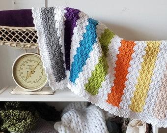 Beginner Simple CROCHET PATTERN Cotton Blanket Afghan NEWBORN Baby Build A Multicolor Triple Shell
