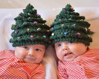 HAT Christmas CROCHET PATTERN Christmas Tree in 5 Sizes Newborn to Teen/Adult Beaded