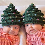 """Christmas CROCHET PATTERN HAT Christmas Tree in 5 Sizes 0 years to 22"""" size Beaded"""
