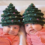 Christmas CROCHET PATTERN HAT Christmas Tree in 5 Sizes 0 to 10 plus years Beaded