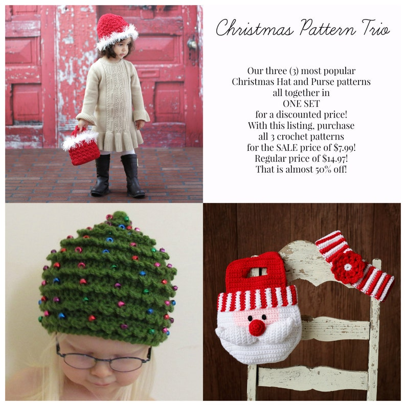 Easy Crochet PATTERN SALE Baby Child CHRISTMAS Hat & Purse 3 image 0