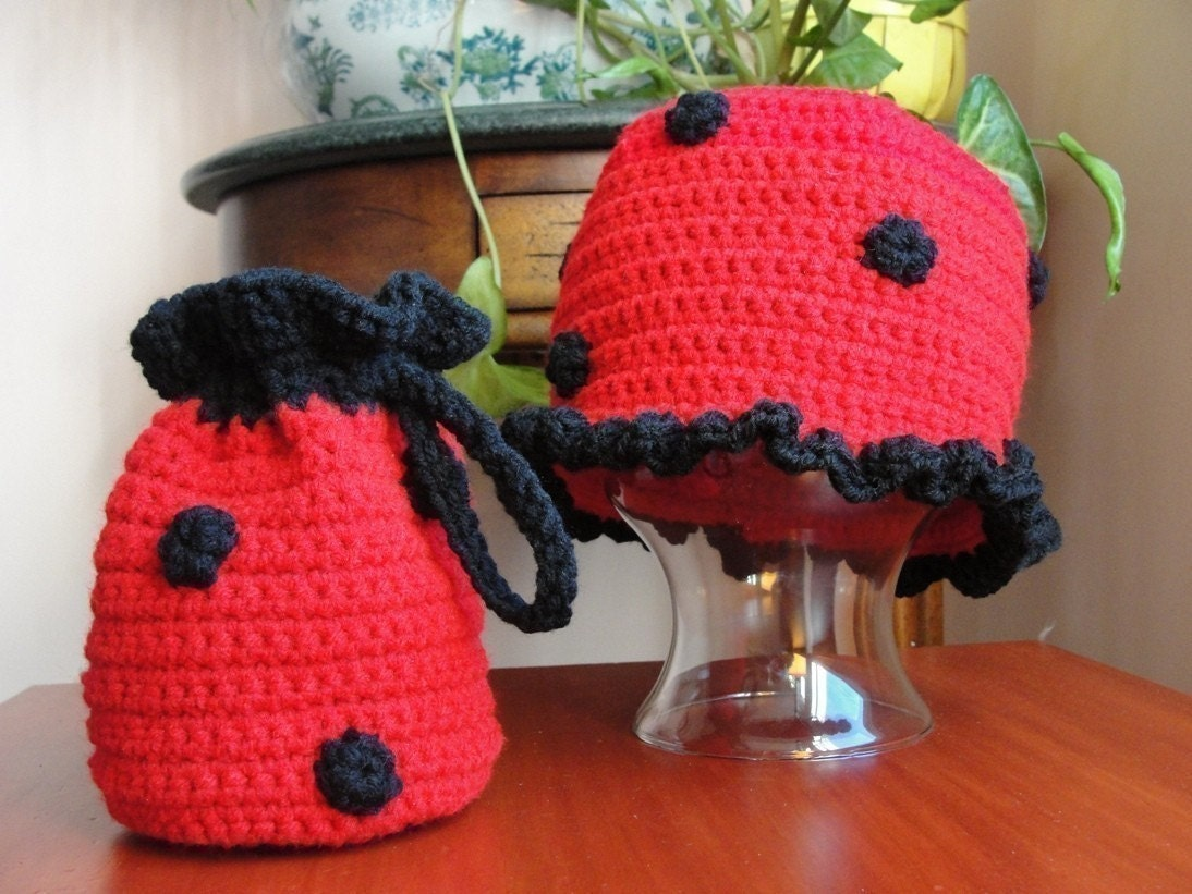 558998373 Baby Girl Hat CROCHET PATTERN Animal LADYBUG Beanie Cloche Hat and Purse