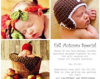 CROCHET PATTERNS Child Baby HAT Easy Fall Autumn Football, Apple, Pumpkin Leaves 3 in One
