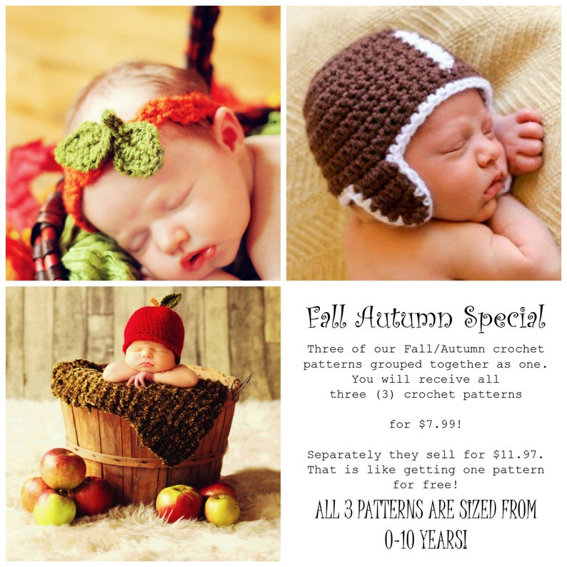 Child Baby HAT CROCHET PATTERNS Fall Autumn Football Apple image 0