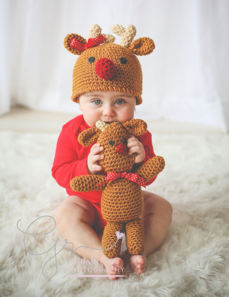 REINDEER Crochet PATTERN HAT in 5 sizes & Reindeer Doll image 0