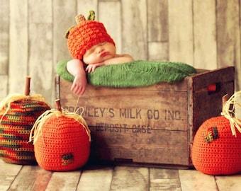 Easy PUMPKIN Hat CROCHET PATTERN Child Baby in 5 sizes 0-10 years