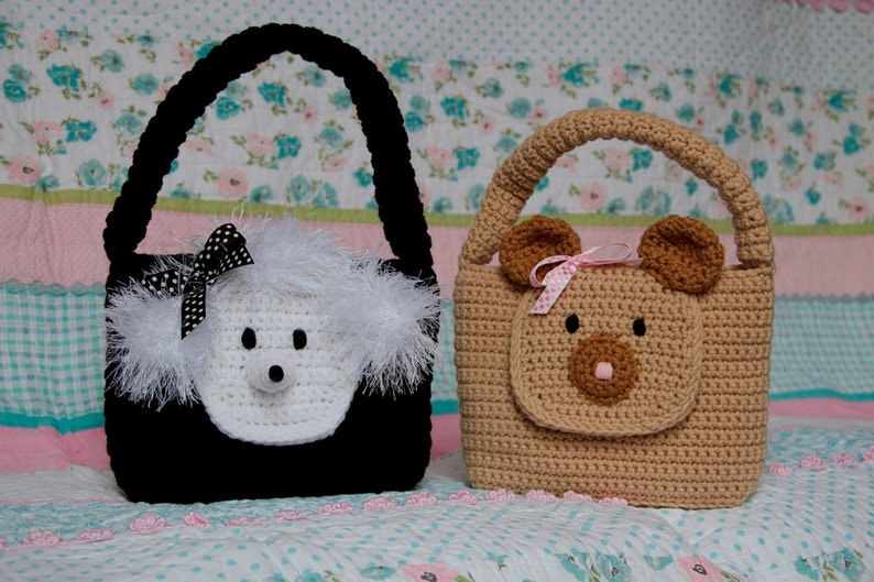 Girl Purse PDF CROCHET PATTERN Easy Animal Bear and Poodle image 0