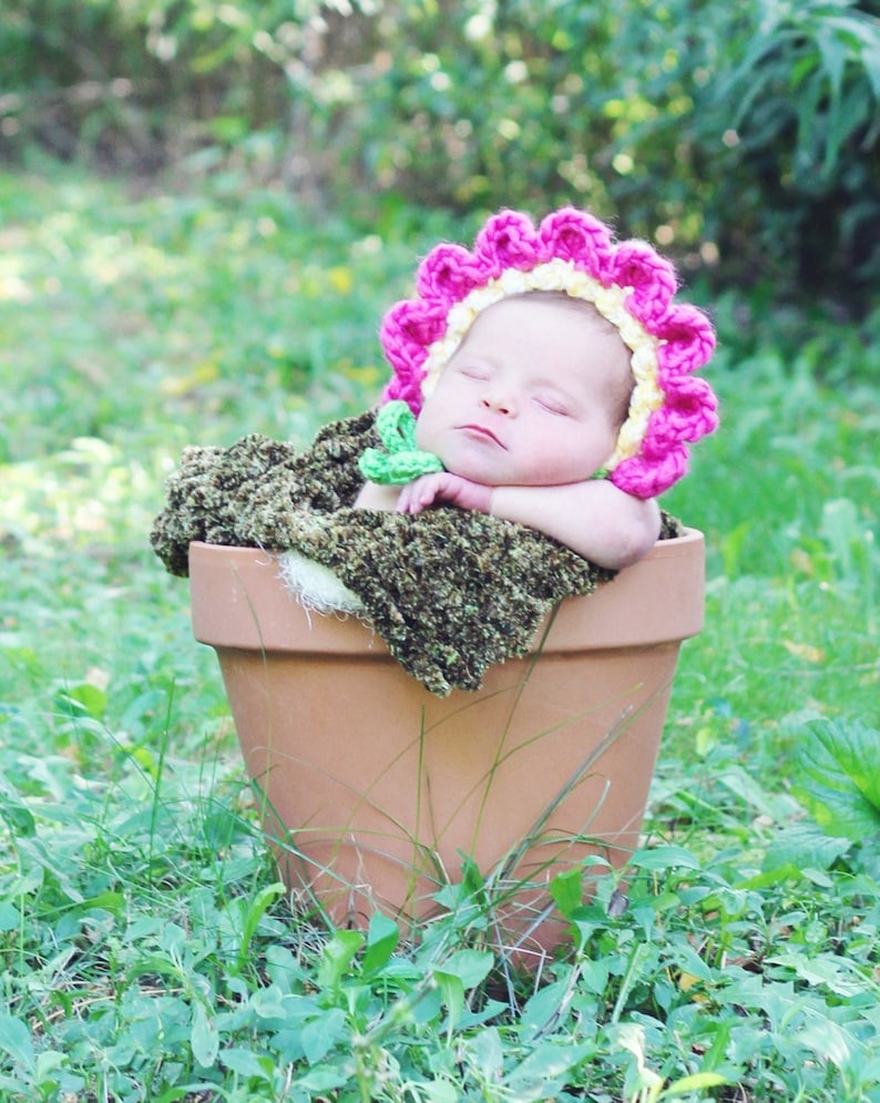 Baby Bonnet Hat Easy CROCHET PATTERN in 4 sizes up to 12 image 0