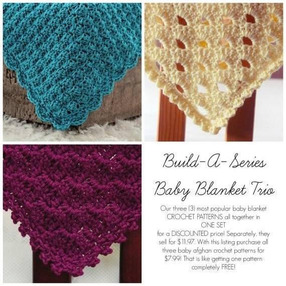 Sale Easy Crochet Patterns Baby Blanket Trio 3 In One Afghan Etsy