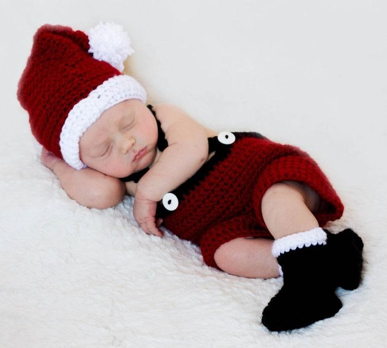 CHRISTMAS Crochet Pattern Santa Set Baby Christmas Photography image 0