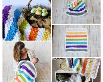 EASY CROCHET Blanket Pattern for Beginners, Crochet Blanket Tutorial NEWBORN Baby Build A Multicolor Triple Shell