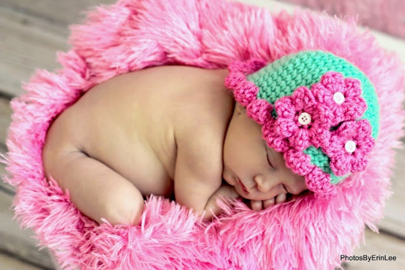 Baby Hat CROCHET PATTERN Beginner Beanie Cap Pretty Petal in 5 image 0