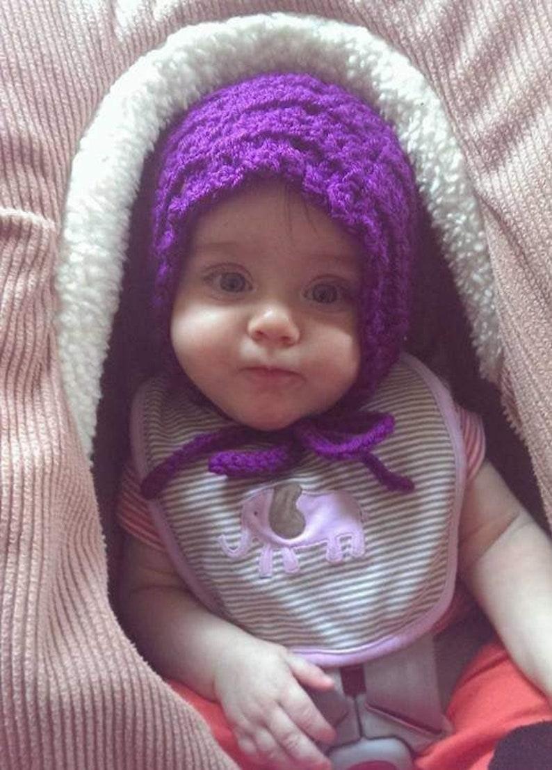 Baby BONNET CROCHET PATTERN Blanket Car Seat Stroller Beginner image 0