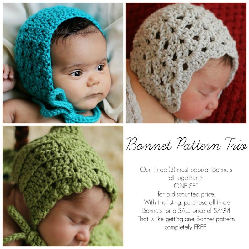 148066b807e0 Crochet PATTERNS Baby Child BONNET Sale 3 in 1 Bonnet Pattern