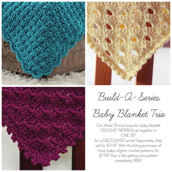 Sale Crochet Patterns Baby Blanket Trio 3 In One Afghan Etsy