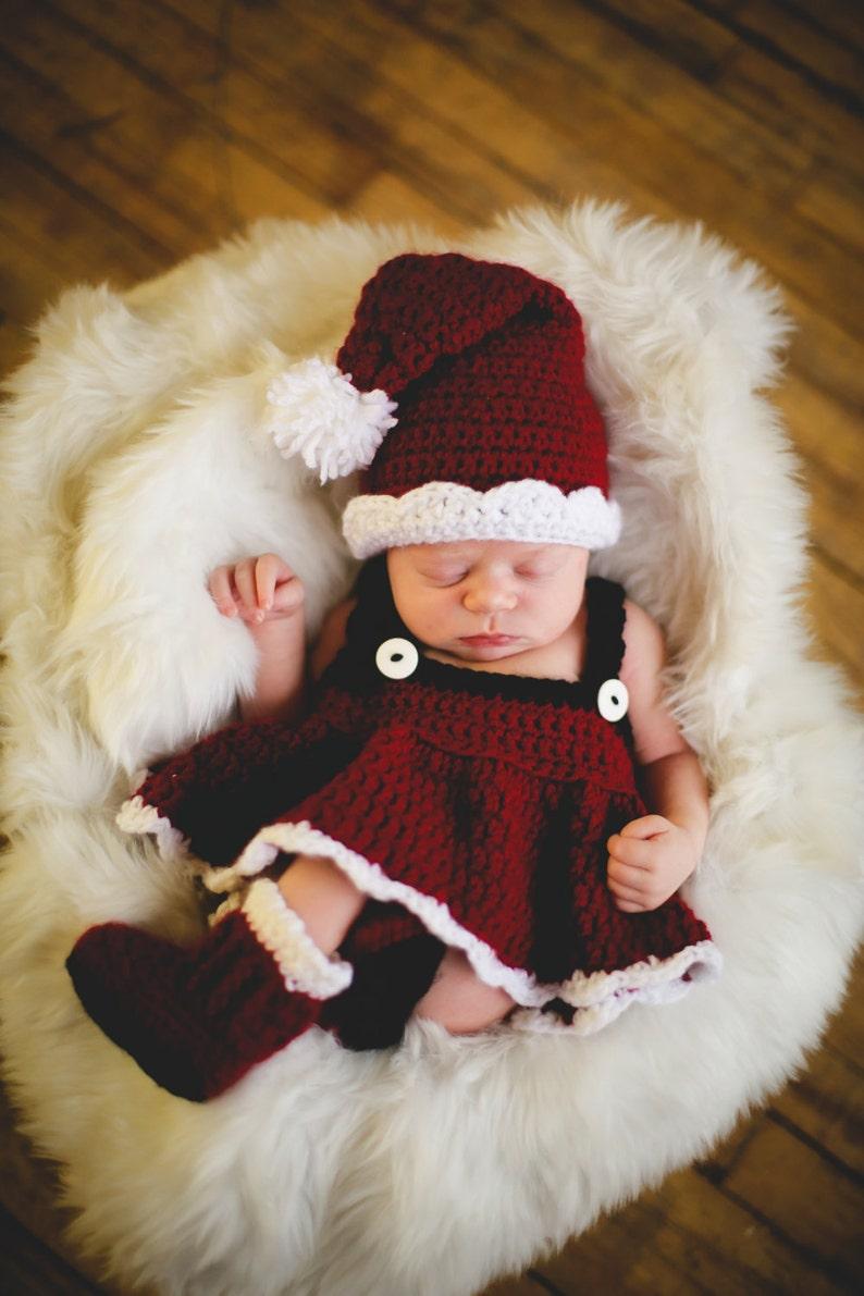 Christmas CROCHET PATTERN Santa Set Photography Prop BOTH Boy image 0
