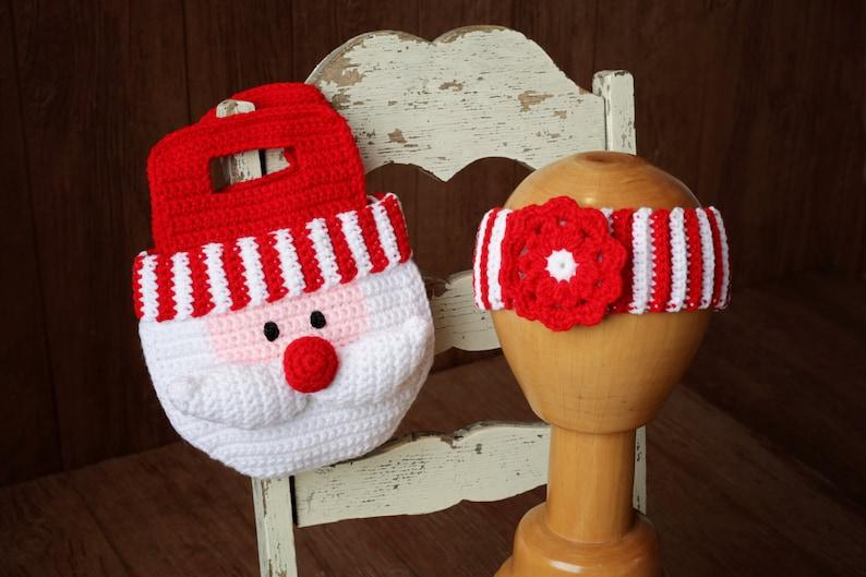 Girl CROCHET PATTERN  Santa Purse Christmas Bag and Striped image 0