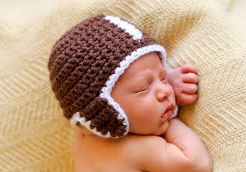 Hat CROCHET PATTERN Football Baby Girl Boy in 5 sizes 0 to 10 image 0