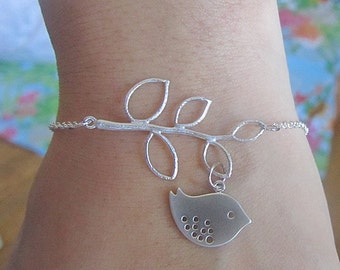 Branch with bird bracelet silver chain
