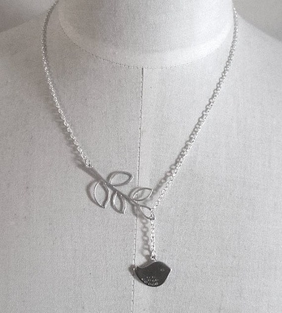 silver chain 17inch Tweet Leaf Silver assymetric lariat necklace