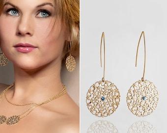 Gold dangle earrings, Long round earrings