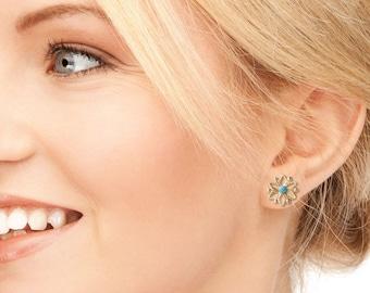 Gold stud earings, Gold studs, Gold earrings, Snowflake stud earrings, Snowflake earrings