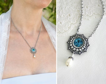 Teal blue pendant necklace, teal necklace for women, teal gifts for her, Silver blue short necklace
