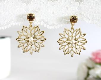 Winter wedding, Winter wedding earrings, Winter earrings, Christmas wedding, Snowflake wedding, Snowflakes Earrings, Gold snowflake