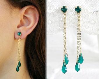 Green dangle earrings, Green and gold earrings, Long Green drop earrings