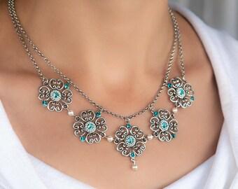 Blue necklace, Floral statement necklace, Blue statement necklace, Statement necklace, Special occasion necklace