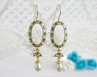 Blue dangle earrings women, Light blue earrings, Swarovski earrings dangle, Classic long earrings, Gold blue dangly earring