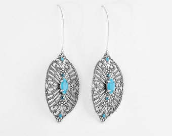 Long silver filigree leaf Earrings with turquoise – Silver crystal Earrings - Ethnic silver long earrings – Turquoise leaf earrings