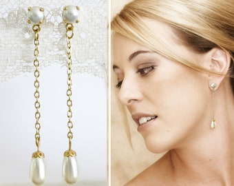 White gold earrings, Long pearls earrings, Pearl drop earrings, Dangling gold pearl earrings, Pearls brides earrings