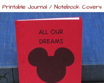 PDF INSTANT DOWNLOAD for Printable Sheet of Mouse Ears Pocket Journal Covers