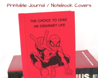 PDF INSTANT DOWNLOAD for Printable Sheet of Spiderman Pocket Journal Covers