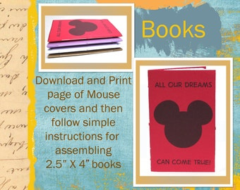 PDF Tutorial for Small Sized Mouse Journal / Notebook with Printable Sheet of Mouse Journal Covers  INSTANT DOWNLOAD